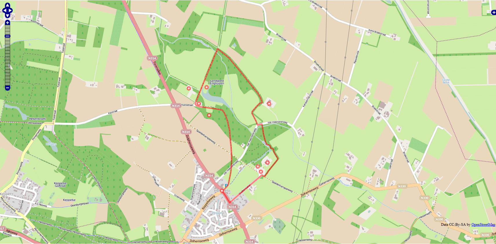 Kaart van de Enghuizenroute in Openstreetmap
